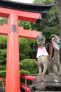 Partout dans le temples, des renards avec une petite bavette rouge